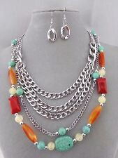 Layered Silver Chain Turquoise Red Orange Bead Necklace Earring Set Jewelry NEW