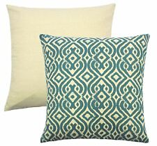 "MOROCCAN STYLE TEAL CREAM TAPESTRY CUSHION COVER 18"" - 45CM"