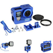 CNC Aluminum Skeleton Rugged Cage Protective Housing Case for GoPro Hero 4 Blue