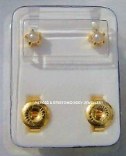 4mm STERILE 24ct Gold Plated PEARL Stud EARRINGS