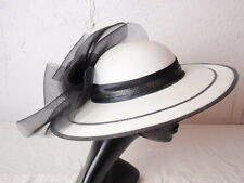 Black White Wide Brim Hat Derby Ascot Synamay Bow Rose Straw Size Large Garden