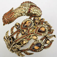 Big peacock cuff bracelet bling jewelry gift for women girls gold brown 2
