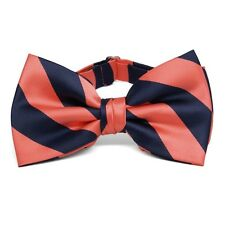 Coral and Navy Blue Striped Bow Tie