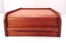 """Mid Century Teak Roll Top Kalmar Tambour Desk Organizer Storage Cassette 14x10"""""""