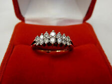 Natural 1/2 CTW Diamond Pyramid Cluster Anniversary Ring 10k Yellow Gold Sz 7