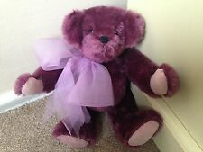 Gorgeous Purple Mohair Artist Bear  Cute Excellent Fully Jointed W/ID