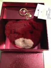 NWT in Gift Box Michael Kors Teddy Bear Pom Pom Fur keychain Cherry/maroon $98