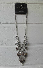 Womens Ladies New Silver Feather Diamonte Short Pendant/Necklace Gift