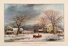 "April 1969 Travelers Insurance Calendar Page Art Print ""Winter in the Country"""