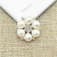 10 Alloy Pearl Rhinestone Diamante Crystal Silver Flower Flatback Wedding Craft