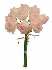 9 Roses BLUSH PINK Bouquets Centerpieces Bridal Silk Wedding Flowers Decoration