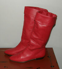 VTG Womens 80's RED Leather Slouch Punk Rock Boots Retro Pointy Toe Size 6 EXC