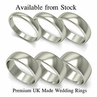 NEW 9ct White Gold D Shaped Wedding Ring Band (Solid & Hallmarked)
