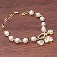 Moda Elegante Perla Pulsera De Cadena Corazón Colgante Flor Joyería Nuevo Regalo