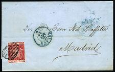 ESPAÑA ENVUELTA CON FACTURA 24 MALAGA A MADRID 18 JUNIO 1854