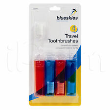 PACK OF 4 TRAVEL FOLD-UP FOLDABLE TOOTHBRUSHES FAMILY HOLIDAYS / WEEKENDS AWAY
