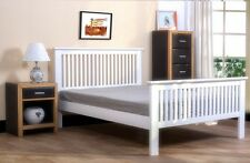 NEW Shaker Style White Wooden Bed Frame Quality Double 4FT6 Wood Classic Modern