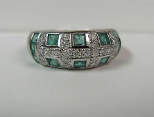 SHOP NOW LAST ONE 14K White Gold Emerald Diamond 8mm Band Ring Size 8.5 R6817