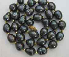 Genuine 8-9mm Black Rice Freshwater Cultured Pearl Necklace 18''