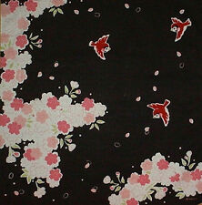 Furoshiki Japanese Fabric 'Cherry Blossoms and Sparrows' Motif Cotton 50cm