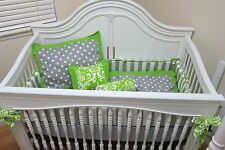 Gray/Green Dotted BABY CRIB BEDDING set, bumper, quilt, pillows and sheet