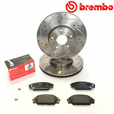 For Honda Civic EP3 2.0 Type-R Front Drilled Grooved Brembo Brake Discs Pads Kit