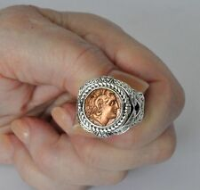 Konstantino Men's Ring Alexander Braided Coin 11  Sterling Silver Copper Aeolos