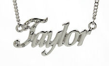 18K White Gold Plated Necklace With Name TAYLOR - Engagement Appreciation Gifts