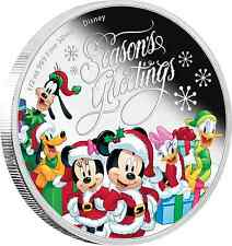 Disney $1 Dollar 1/2 oz Silver Proof Coin 2016 Season's Greetings Christmas Gift