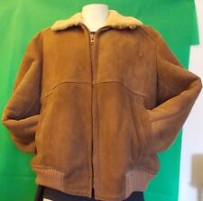 This Genuine Shearling Sheepskin Sawyer of Napa Bomber Aviator Jacket Coat Large