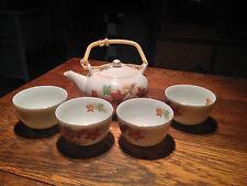 BRT Gorgeous Asian traditional hand Painted Porcelain Tea Pot & 4 cup tea set