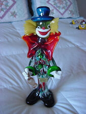 11-1/2 IN. TALL- VINTAGE MURANO GLASS BOOZY CLOWN WITH CHIANTI BOTTLE