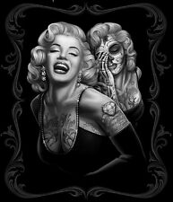 Marilyn Monroe Smile Now Skull Tattoo Mink Blanket Queen 24x32 inch Poster