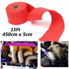 Red Exhaust Header Heat Wrap Pipe Turbo Manifold 4.5M*5CM Roll W/ Stainless Ties