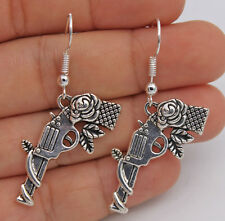 925 Silver Plated Hook -1.8'' Rose Gun Retro Silver Tone Lady Party Earrings #04
