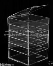 Acrylic Lucite Clear Cube Makeup Organizer The Kardashians Display 5 plus lid