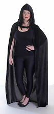 Black Velevt Cloak Witch Fancy Dress Costume Halloween Grim Reaper Ghost Outfit