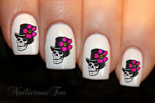 Skull Flower Hat Nail Wrap Art DECAL Water TRANSFER 16pcs ST8010
