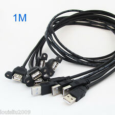 1pc 1M/3.3FT USB2.0 A Male to A Female Panel Mount Screw Hole Extension Cable