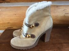 Coach Lenora Suede Ankle Boots Tan Color Sz 9 M High heel
