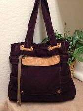 GAP Purple Corduroy Leather Trim Tote Shopper Bag Shoulder Handbag Large VGC