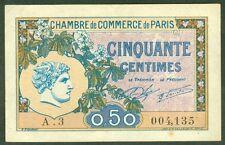 NECESSITE 50 CENTIMES CHAMBRE DE COMMERCE DE PARIS ETAT : SUP lot 443