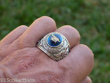 12x10mm US Military Navy Seals Rhodium Plated Solitaire Stone Men Ring Size 14