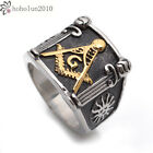 Stainless Steel Gold Black Silver Masonic Mens Ring Size 8 - 15