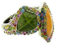 MULTI COLOR FACETED LUCITE STUD & CRYSTAL STUD CHUNKY HINGE BANGLE BRACELET