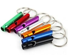 10 pc Aluminum Emergency Survival Whistle Keychain Camping Hiking Random Color