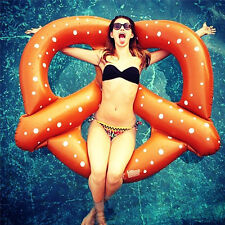 Swimming Pool Giant Inflatable Pretzel Float Toy Summer Swim Ring Water Raft
