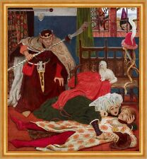 Death of Sir Tristram Ford Madox Brown Tod Waffe Adel König Trauer B A1 01783