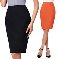 New Womens Midi Pencil Skirt Ladies Plain Business Bodycon Tube Skirt Plus Sizes