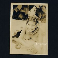 Pretty nude Hawaii Girl w UKULELE/photoshoppare RAGAZZA VINTAGE 30s Soldier 's photo